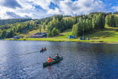 Canoeing trip on Lake Syväri - one of the Thousands Lakes in Finland